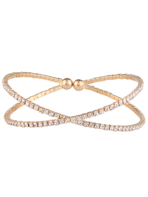Double Crossed Loops Strass Armreif