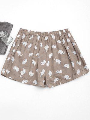 Pockets Elephant Print Loungewear Shorts - Light Khaki S