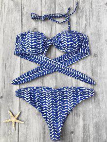 Dessus Et Bas En Bikini à Bandeaux Noués à Rayures - Bleu S