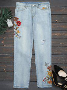 Ripped Floral Embroidered Narrow Feet Jeans - Denim Blue L