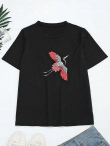Sequins Crane Embroidered Cotton T-Shirt - Black M