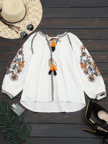 Lantern Sleeve Tassels Embroidered Blouse - White M