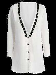Plunging Neck Button Down Beaded Cardigan WHITE: Sweaters M | ZAFUL