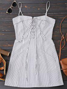 Lace Up Stripes Mini Dress With Two Pockets - Stripe L
