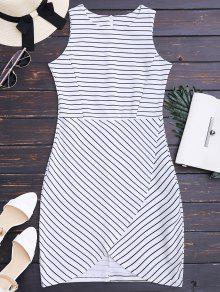 Round Collar Sleeveless Striped Dress - Stripe M