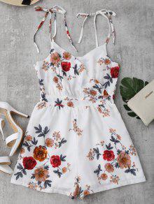 رومبير طباعة الأزهار ربطة ذاتية كامي - أبيض M