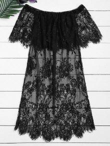 De La Blusa De Encaje Transparente De Hombro - Negro Xl