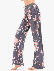 Pantalones Palazzo De Impresión Floral Con Cordón - Gris S