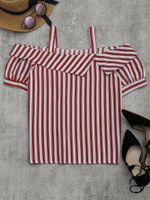 Cold Shoulder Striped Blouse - Red L