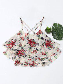 Floral Print Tiered Cami Top - Floral