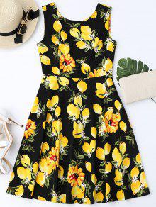 Vestido Con Vuelo Sin Manga Con Estampado De Limón - Negro L