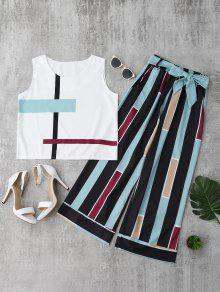 Striped Tank Top And Belted Pants - Light Blue Xl