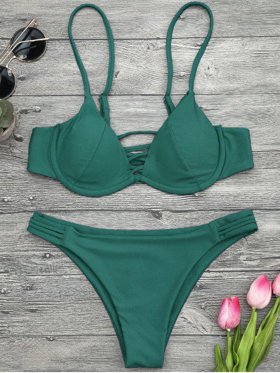 best Lattice Padded Underwire Bikini Set - GREEN L