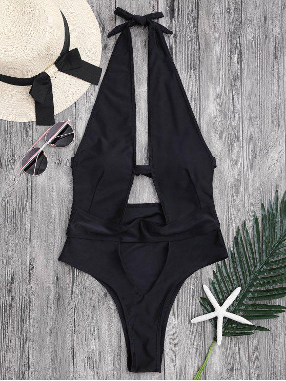 latest Cut Out High Leg Plunging Neck Monokini - BLACK M