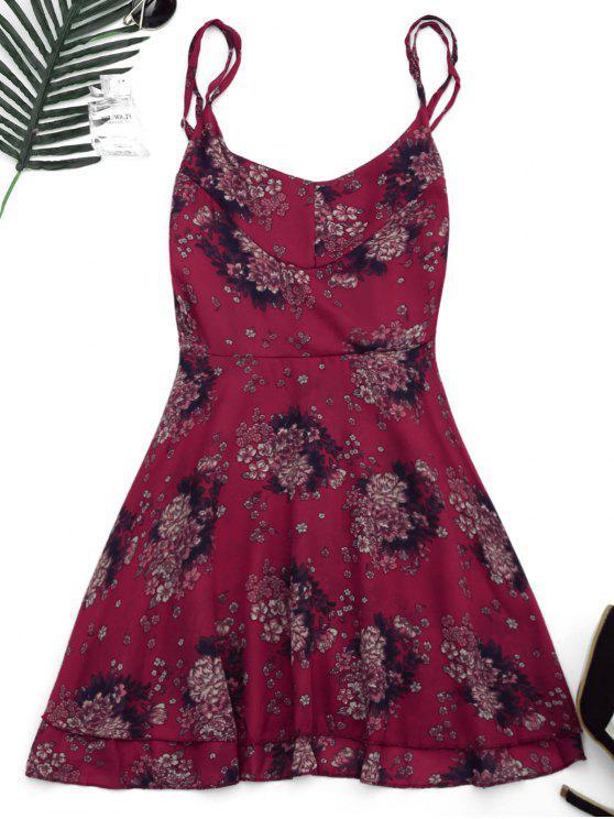 فستان عارية الظهر طباعة الأزهار - الأزهار L