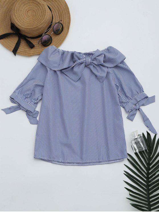 Bowknot de la blusa rayada del hombro - Raya Única Talla