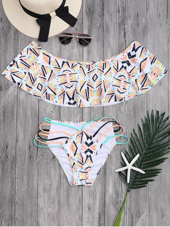 De Hombro Patrón Geométrico Banded Bikini - Colormix M