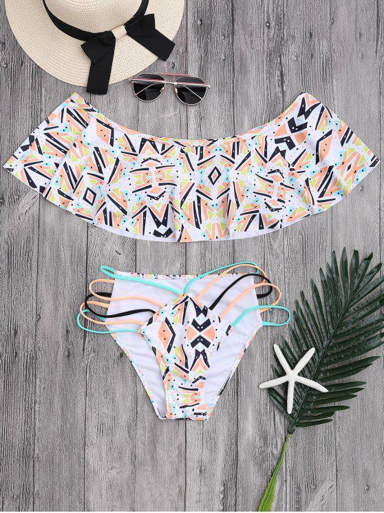 unique Off Shoulder Geometric Pattern Banded Bikini - COLORMIX S