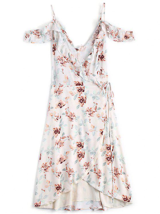 Vestido floral transpassado assimétrico e ombro de fora - Floral M