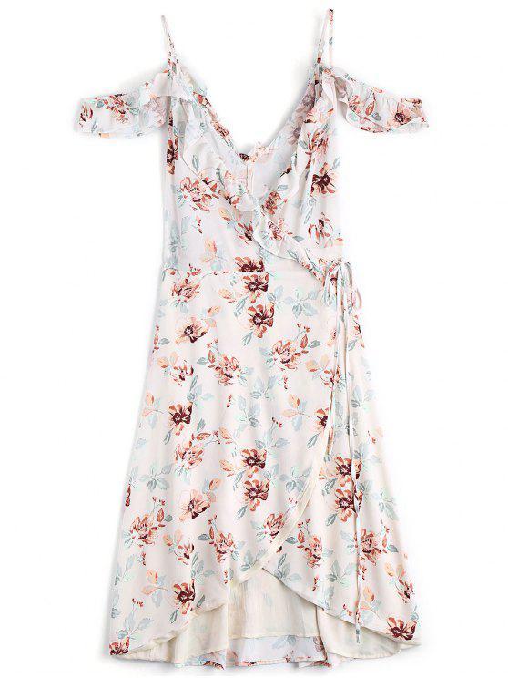 فستان لف غير متماثل باردة الكتف طباعة الازهار - الأزهار S