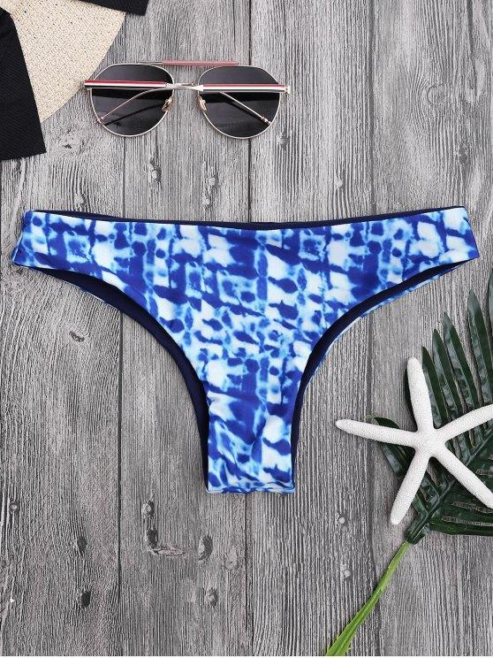 Mediados de Cintura Tie-Dyed Thong Bikini Bottoms - Azul L