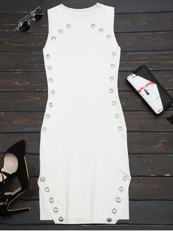 Robe collante en tricot avec embellissement de bagues et fentes - Blanc TAILLE MOYENNE