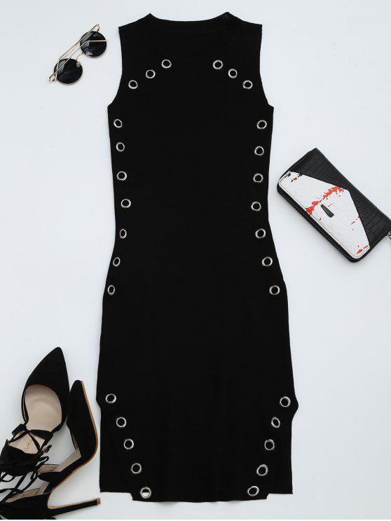 Robe collante en tricot avec embellissement de bagues et fentes - Noir TAILLE MOYENNE