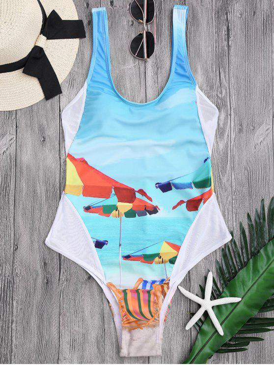 shop Scoop Beach Print High Cut Swimwear - LAKE BLUE L