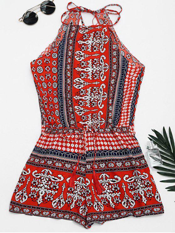 Impressão tribal cortada Cami Romper - Vermelho L