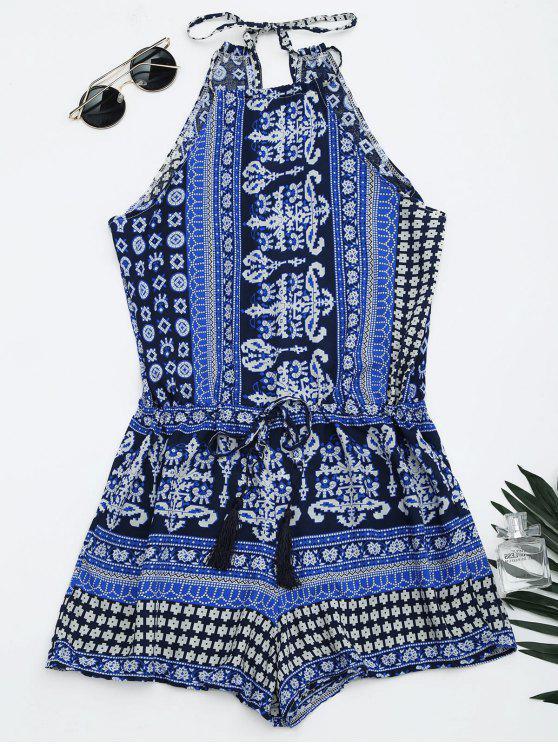 Cami Combishort Coupé Imprimé Tribal - Bleu S