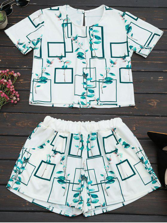 lady Leaves Print Top and Pocket Shorts Set - WHITE S