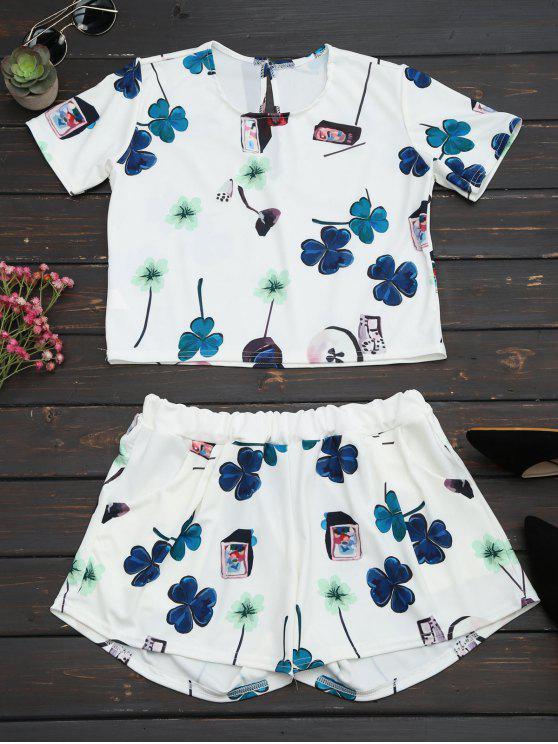 Impreso Top con cintura alta conjunto de cortos - Blanco S