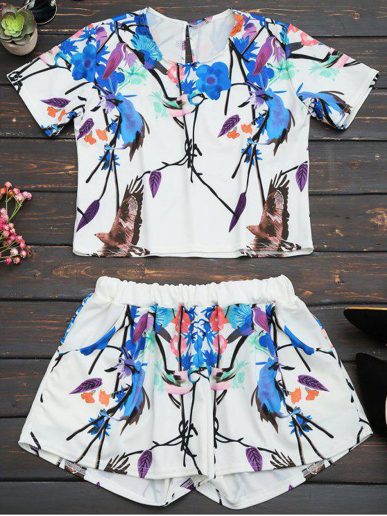 chic Printed Top and High Waist Shorts Set - MULTI L