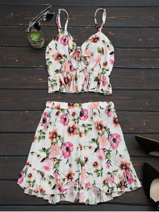 Floral Print Ruffles Cami Top y pantalones cortos - Floral M