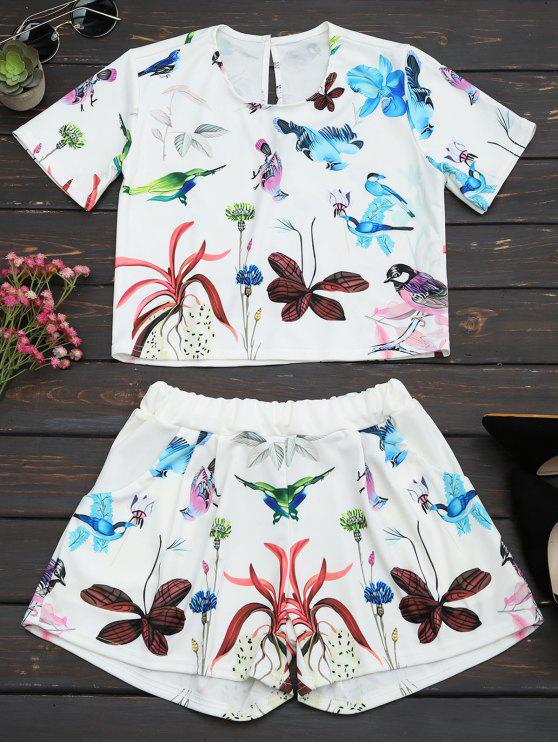 hot Printed High Waist Two Piece Set - WHITE L