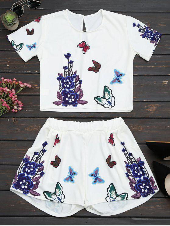 latest Butterfly Floral Print Top and Shorts Set - WHITE L