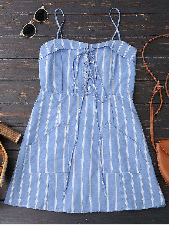 women Stripes Back Zipper Lace Up Mini Dress - STRIPE S