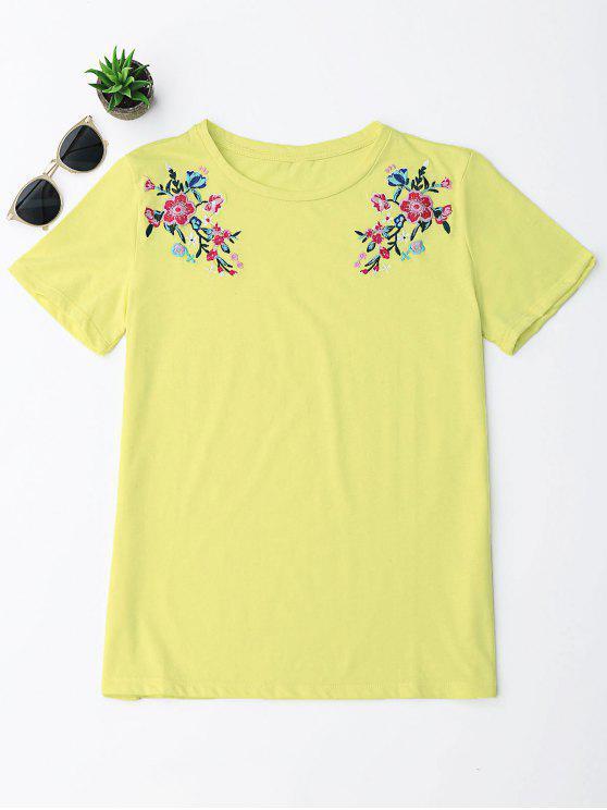 Camiseta floral del bordado del algodón - Amarillo L