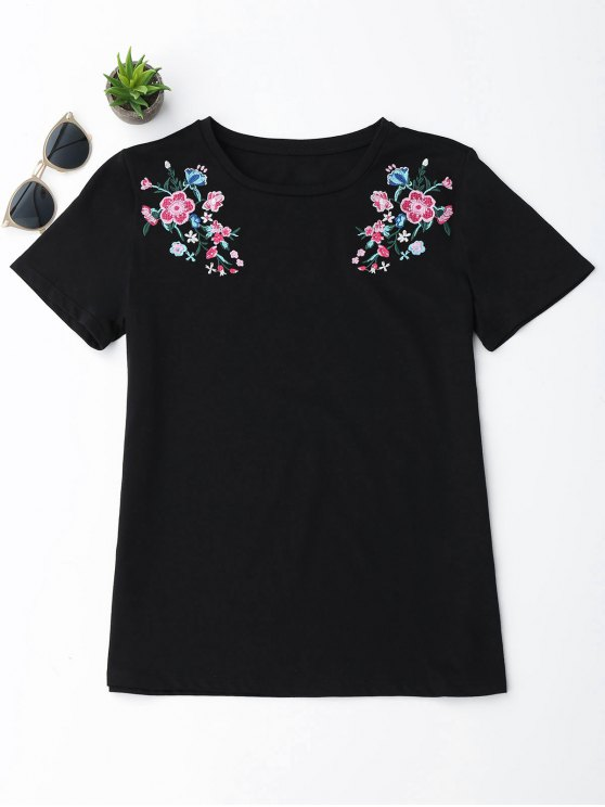 T-shirt Brodé Floral en Coton - Noir L