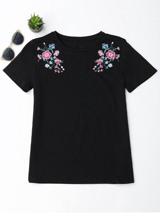 Camiseta floral del bordado del algodón - Negro S