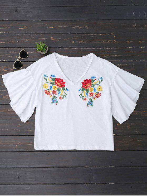 buy Ruffles Floral Embroidered Cotton Top - WHITE M