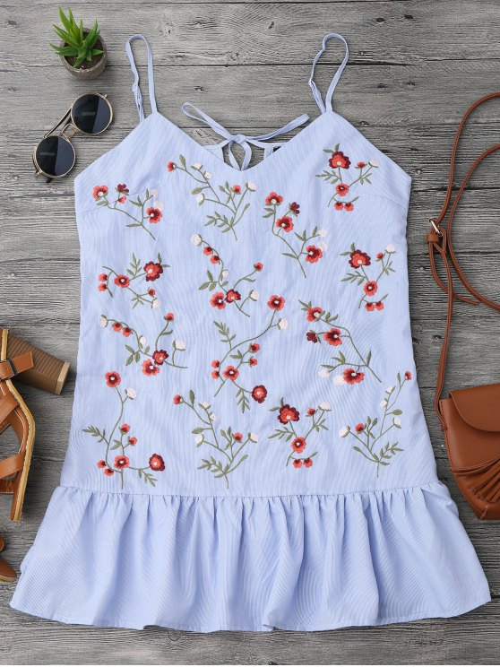 outfit Ruffles Longline Floral Embroidered Tank Top - STRIPE S