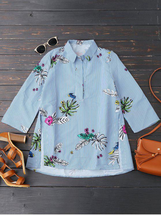 trendy Floral Stripes High Low Slit Shirt - STRIPE M