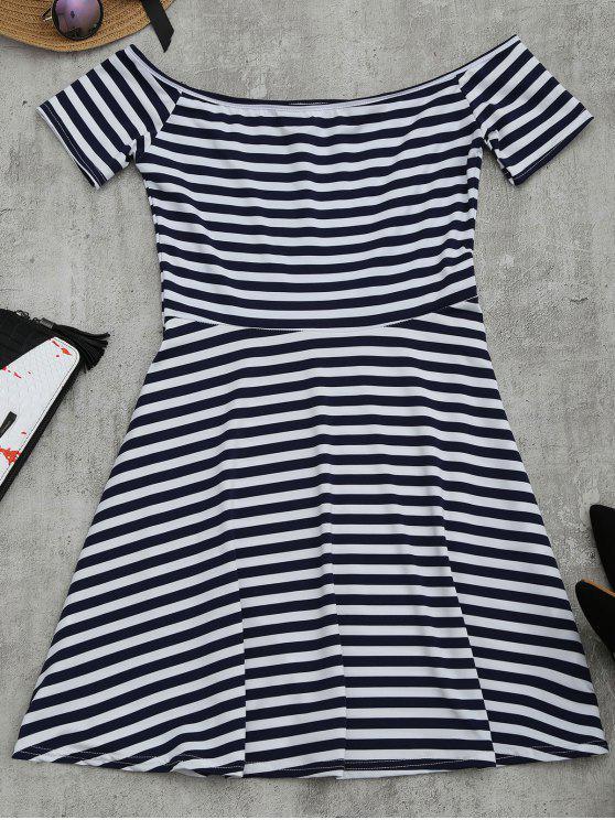affordable Off The Shoulder Striped Flare Dress - STRIPE M