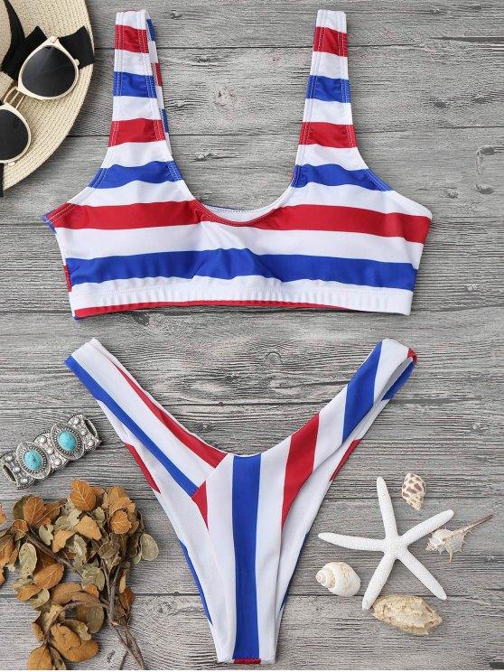 online Padded Striped High Cut Scoop Bikini Set - STRIPE M