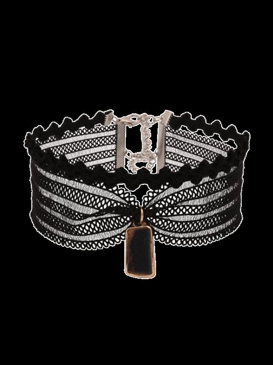 Vintage Mesh Spitze Halsband-Halskette - Schwarz