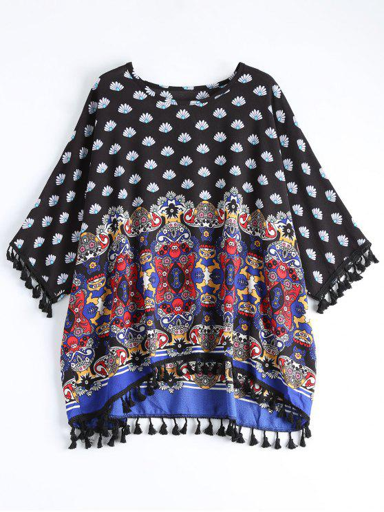 outfit Dolman Sleeve Tribal Print Tassels Blouse - MULTI ONE SIZE