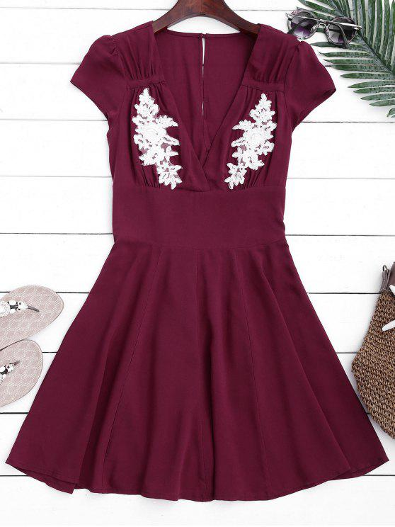 chic Cut Out Embroidered Patched A-Line Dress - PURPLISH RED S