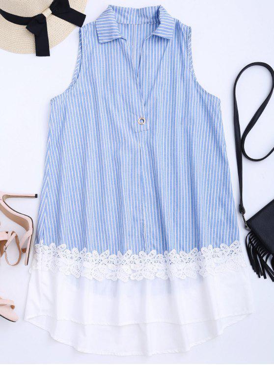 فستان دانتيل مخطط بلا أكمام - شريط S