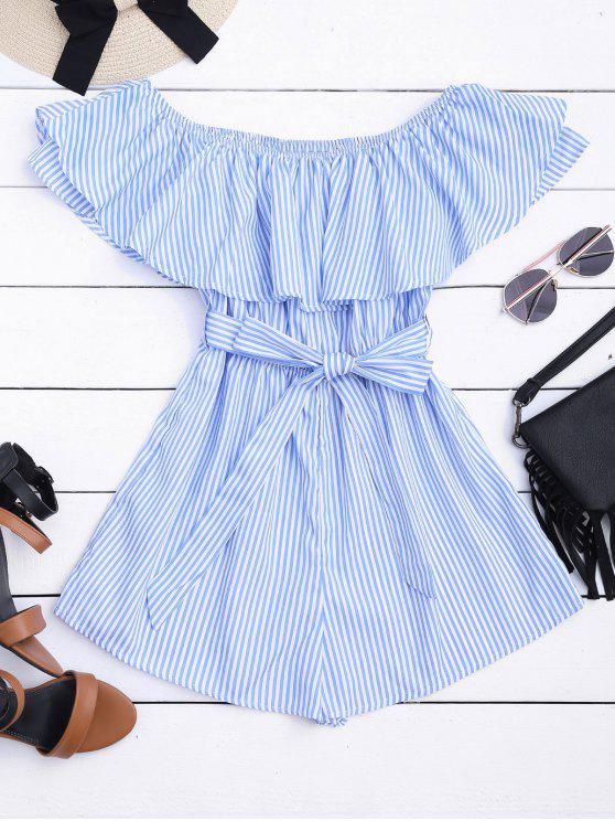affordable Flounce Hem Striped Belted Romper - STRIPE S